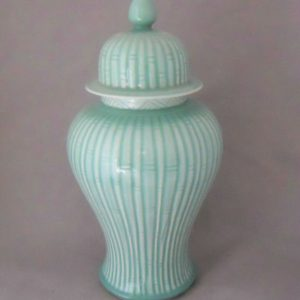 bamboo blue ceramic ginger jar WRYKB98