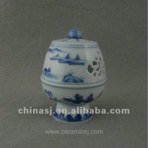 beautiful blue and white ceramic Censer with landscape design WRYTZ03