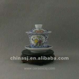 beautiful ceramic blue and white Tea set with flower design WRYAJ02