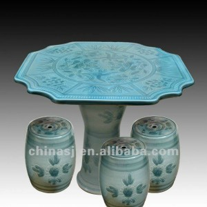 beautiful light blue ceramic garden stool table set RYAY268