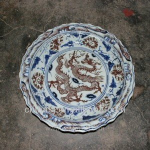 big blue white Porcelain Plate for appreciate RYVH12