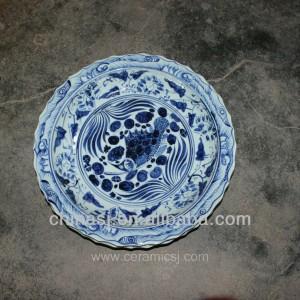 big blue white Porcelain Plate for appreciate RYVH07
