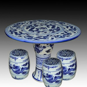 blue and white bamboo ceramic garden stool table set RYAY271