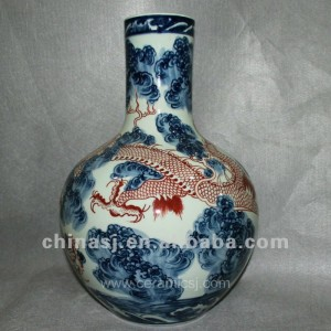 blue and white ceramic vase with handles RYUX01