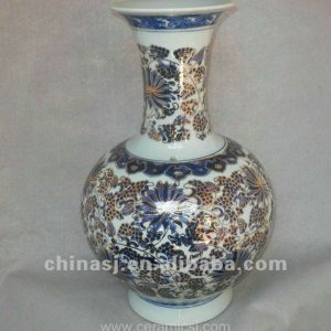 blue and white gilt ceramic Home Decor Flower Vase RYTA03