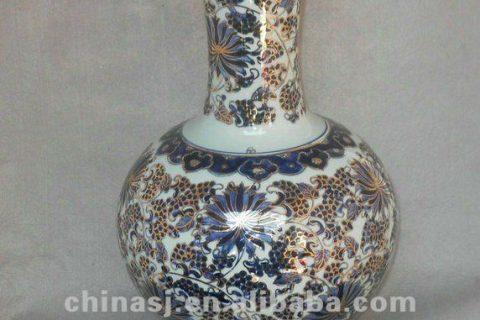 blue and white gilt ceramic Home Decor Flower Vase RYTA03