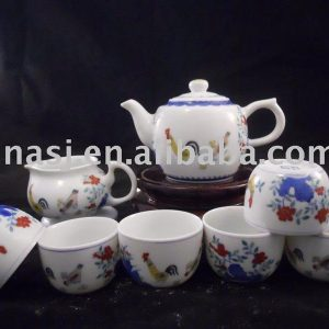 9pcs chicken and flower design porcelain tea sets