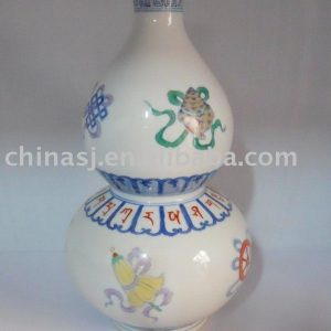 Antique famille rose Ceramic Vase Gourd Shape WRYAS68