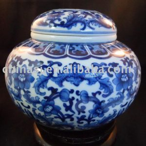 Blue and White Ceramic Tea Caddy RYDD07