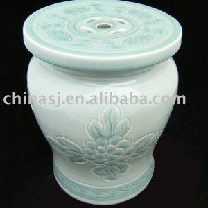 Celadon blue Ceramic Garden Stool floral WRYAZ219