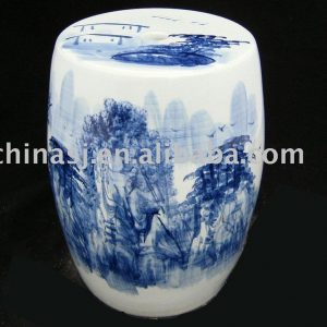 Ceramic Garden Seat hand painted Chinese landscape WRYAZ221