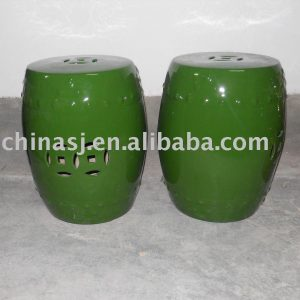 Ceramic Garden Stool Green Porcelain side stand table