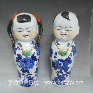 Chinese boy and girl blue and white ceramic figurine WRYJM05