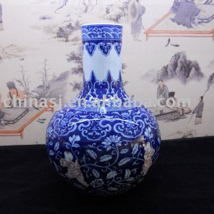 Chinese hand made blue and white Ceramic Vase WRYBB80