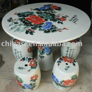 Chinese peony ceramic garden table stool WRYAY20