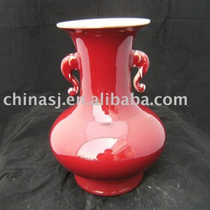 Elephant ears Red Porcelain Vase