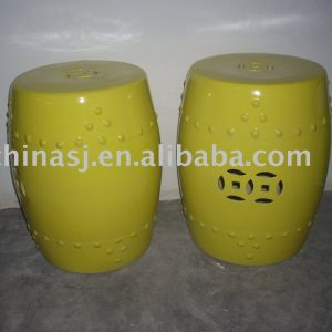 HOT SELL Yellow Glazed Porcelain Garden Stool WRYDB02