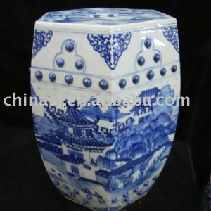 High quality Hexagon blue white landscape Garden Stool WRYLV03