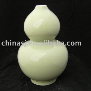 Large Gourd shape light yellow Ceramic Vase