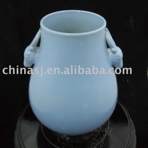 Light Blue Glazed Porcelain Vase with two Sheep Handle WRYCN69