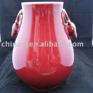 Porcelain Vase red color with deer ears