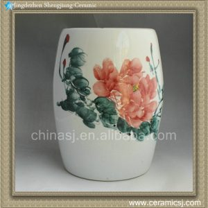 RYAZ338 Ceramic Garden Stool hand painted peony