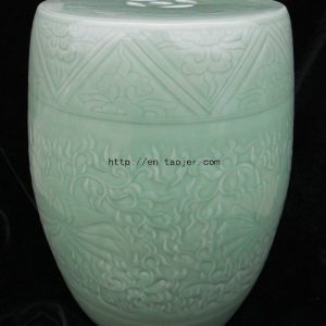 WRYMA02 Green celadon engraved Ceramic Garden Stool