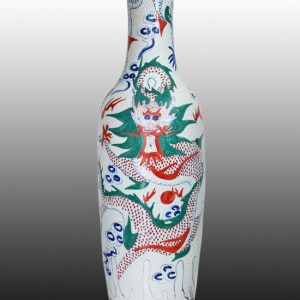 WRYGQ43 Blue and White big Ceramic vase with colorful dargon