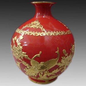 Red and golden inlay Ceramic Vase WRYHT110