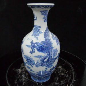 "WRYJU06 8"" Blue and White Dragon porcelain Vase"