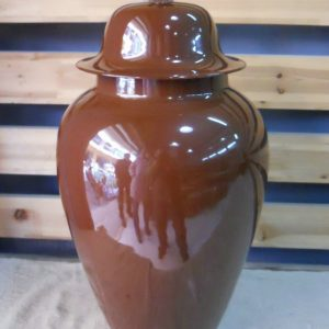 WRYKB28 H55cm chocolate color ceramic temple jar with cover
