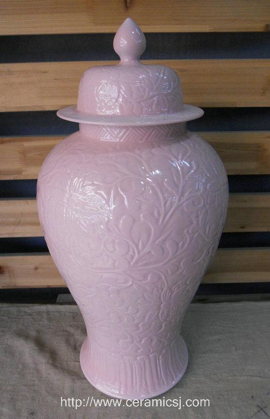 Large Pink Hand Engraved Floral Porcelain Ginger Jar