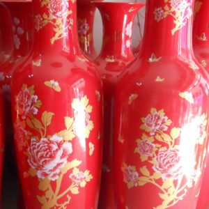 Chinese red floral design tall ceramic floor vase WRYKW09