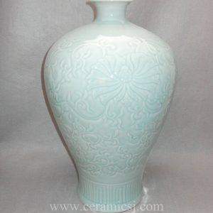 WRYMA15 Carved floral design Celadon Blue Ceramic Vase