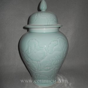 WRYMA22 Celadon engraved flower bird Ceramic Temple Jar