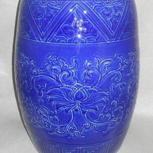 """WRYMA28 Hand made blue floral design ceramic Garden Stool 17"""" tall"""