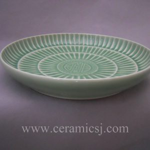 WRYMA29 Handmade celadon green porcelain decorative plate