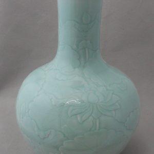 WRYMA37 Blue Bulb Vase Engraved
