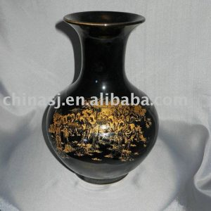 black and gold glazed porcelain vase WRYKR01