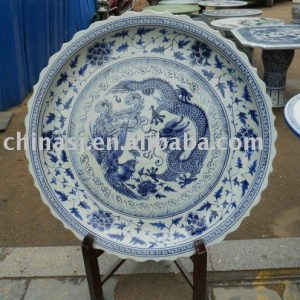 blue and white antique reproduction Porcelain plate WRYAZ330