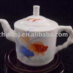 blue and yellow fish porcelain tea pot WRYAG43