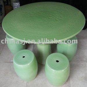 china green ceramic garden table stool WRYAY26