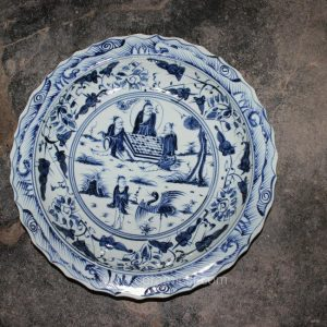 blue white decorative Porcelain Plate for appreciate RYVH02