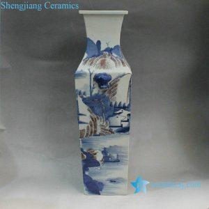 RYXN01 Square Blue & White Landscape Vase
