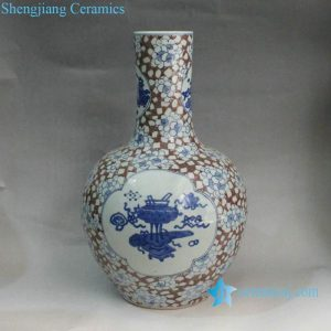 RYXN03 Blue & White Copper Red Medallion Eight Treasure Vases
