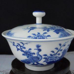 RYZ74 Chinese hand paint blue white tea cup