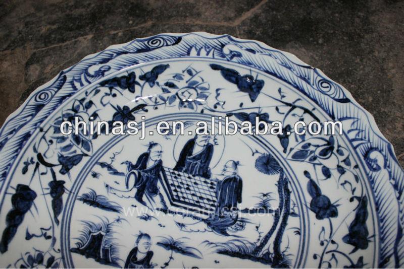 blue white decorative Porcelain Plate for appreciate RYVH02
