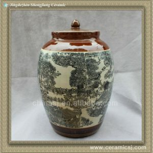 RYWW03 chinese green porcelain storage jar with lid