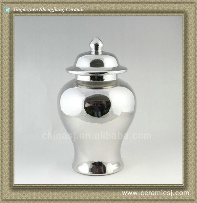 """RYNQ41 14"""" Metal Silver Porcelain Temple Jar"""