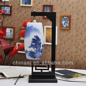 Oriental Blue and White Porcelain Lamp